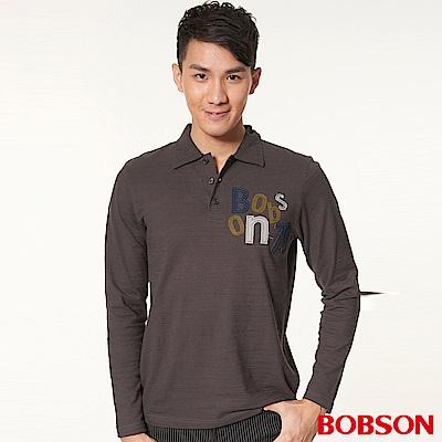 BOBSON 男款合身版貼布繡長袖POLO衫(墨綠 46 )