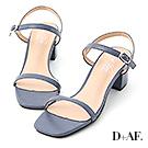 D+AF 夏日美型.一字細帶方頭中跟涼鞋*藍
