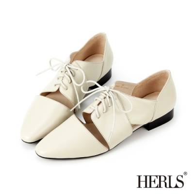 HERLS牛津鞋-全真皮馬甲綁帶鏤空牛津鞋-灰米色