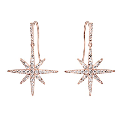 apm MONACO法國精品珠寶 玫瑰金鑲晶鑽星芒掛勾式耳環