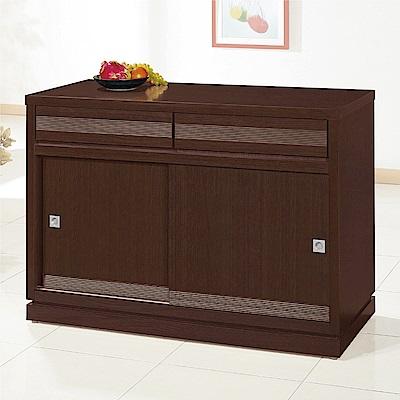 綠活居 帕迪時尚4尺推門二抽餐櫃/收納櫃-121x52x84.5cm免組