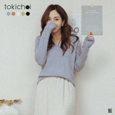 東京著衣 舒適性感V領寬鬆針織上衣(共五色)