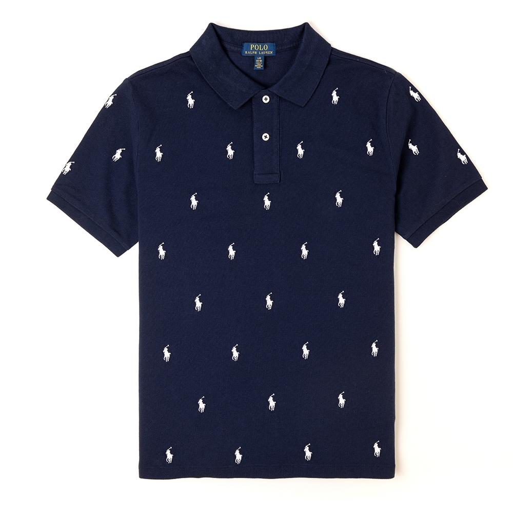 Polo Ralph Lauren 經典電繡小馬滿版POLO衫(青年款)-深藍色