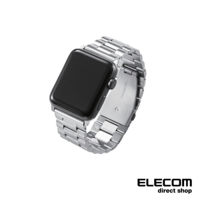ELECOM Apple Watch 42mm金屬錶帶-銀