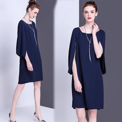 【KEITH-WILL】(現貨)素色簡約OL都會罩衫遮臂洋裝(共1色)