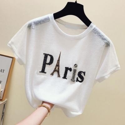SQUA 釘珠巴黎英文字母上衣-二色-(M~XL)