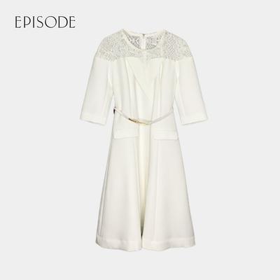 EPISODE - 氣質圓領中袖蕾絲肩腰帶修身洋裝(白色)