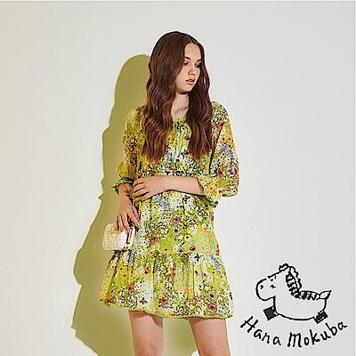 Hana+花木馬 氣質微甜滿版碎花 100 %棉製荷葉滾邊七分袖造型洋裝-綠(共 2 色)