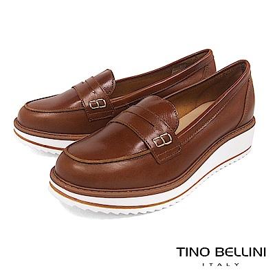 Tino Bellini 義大利進口優雅英倫復古風楔型莫卡辛鞋 _ 棕