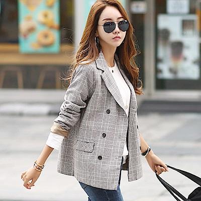 正韓 格紋翻領排扣長袖西裝外套 (共二色)-N.C21