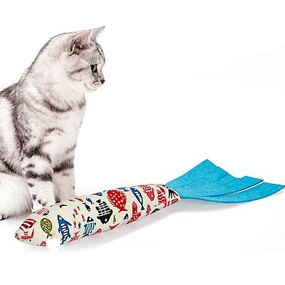 DYY》貓咪棉麻耐咬耐抓魚型帶響紙貓薄荷魚玩具49*17CM