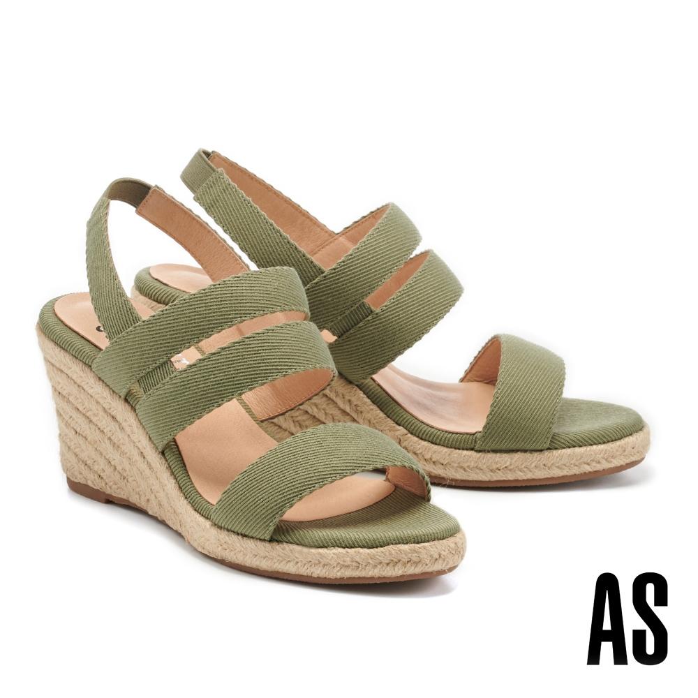 涼鞋 AS 愜意時尚寬繫帶草編楔型高跟涼鞋-綠