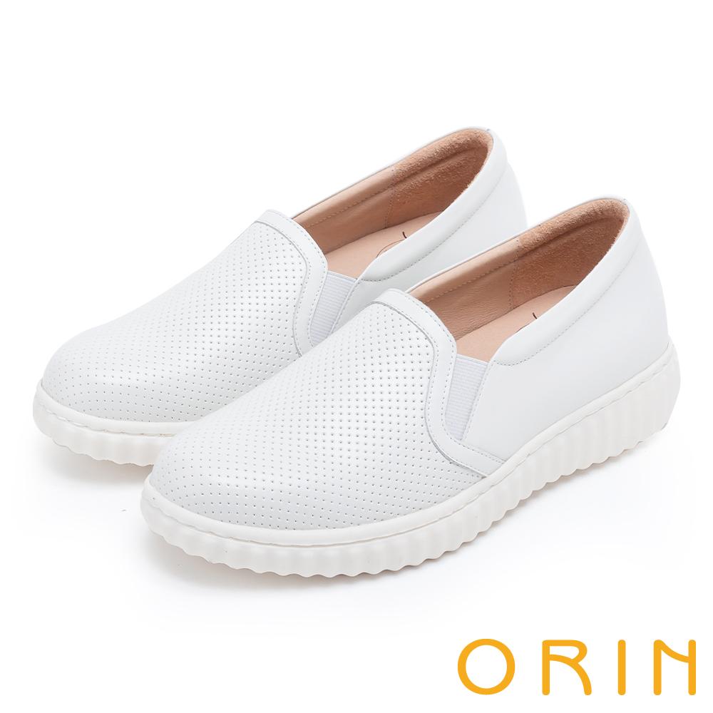 ORIN 引出度假氣氛 牛皮洞洞平底便鞋-白色
