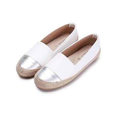 BuyGlasses 金屬拼接草編麻繩懶人鞋-白