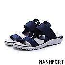 HANNFORT Ultra Flex 3D寬版鬆緊帶交叉涼鞋-女- 日蝕藍