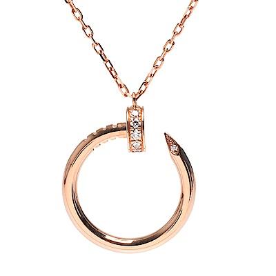 Cartier 經典JUSTE UN CLOU系列鑽石鑲嵌釘子造型項鍊(玫瑰金)