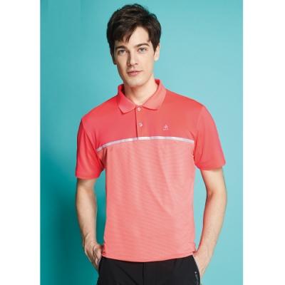 Spar細橫條紋彈性男版短袖POLO衫S208218螢光櫻桔色