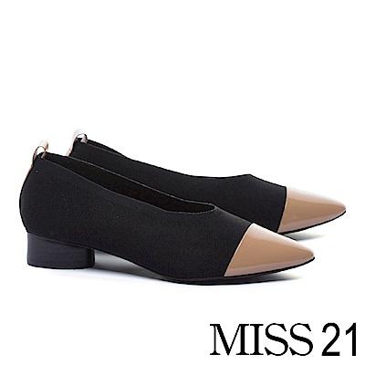 低跟鞋 MISS 21 簡約復古優雅漆皮拼接飛織尖頭木紋造型低跟鞋-黑