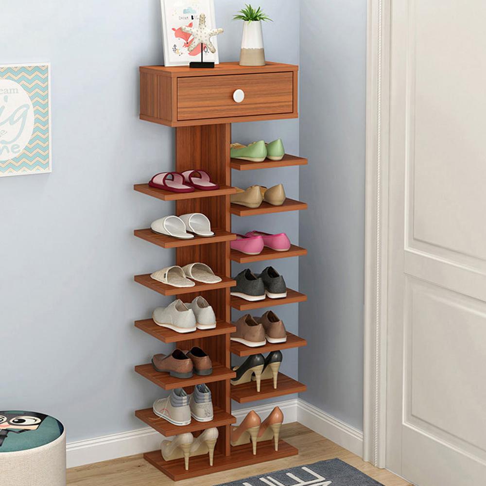 【Effect】簡約直立式歐風木紋收納鞋架(8層)