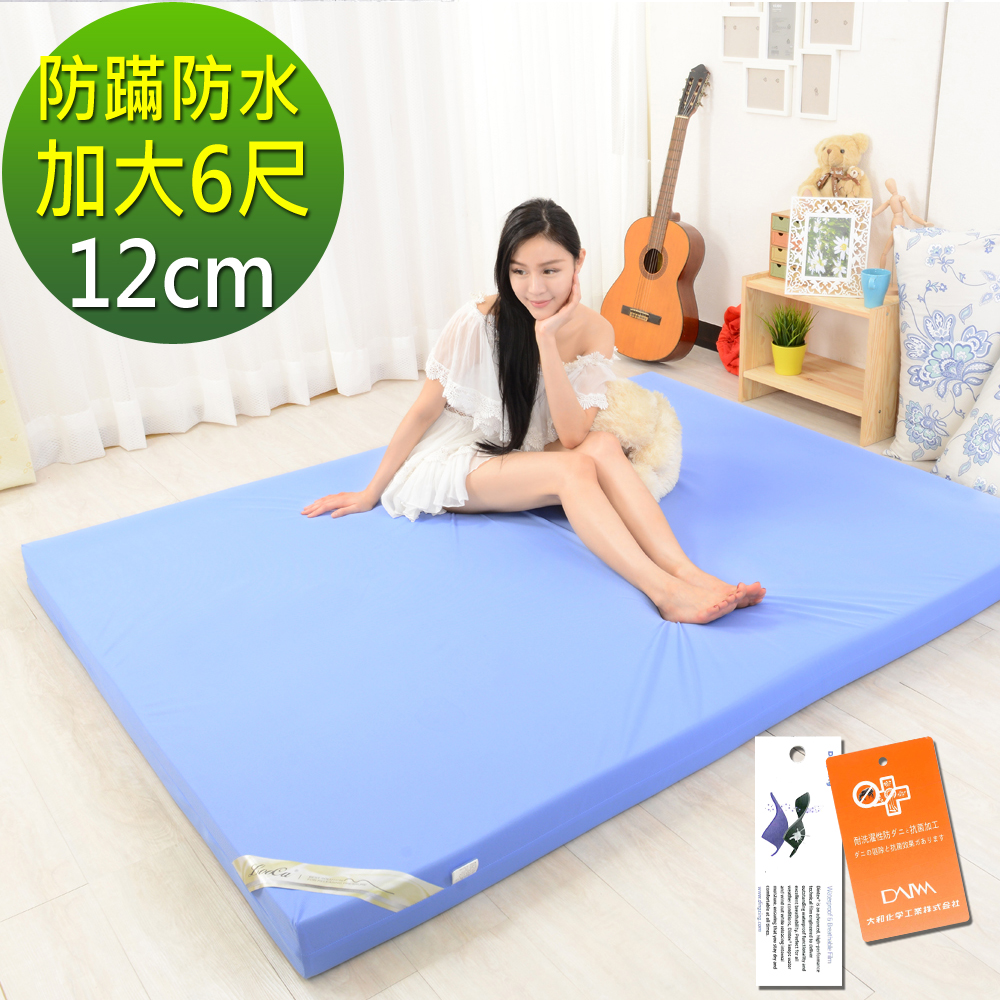 LooCa 抗菌防蹣防水12cm釋壓記憶床墊 加大