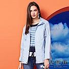 【麥雪爾】純棉水藍立領風衣外套
