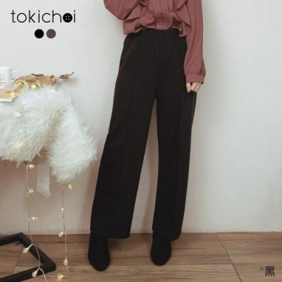 東京著衣 絕對實穿腰鬆緊立體顯瘦磨毛寬褲(共二色)