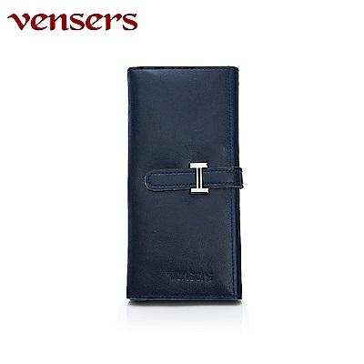 vensers 小牛皮潮流個性皮夾~(TA817201寶藍長夾)