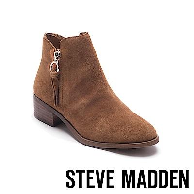 STEVE MADDEN-SIMMER復古粗跟尖頭短靴-絨棕