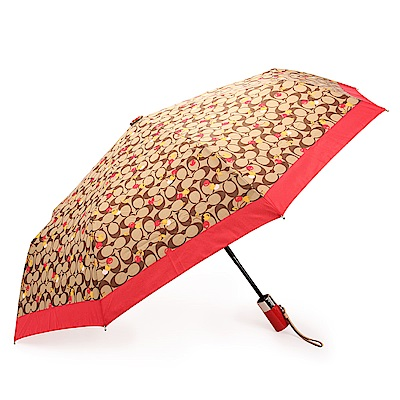 COACH 經典滿版LOGO櫻桃圖案全自動開闔晴雨傘-咖啡/紅COACH