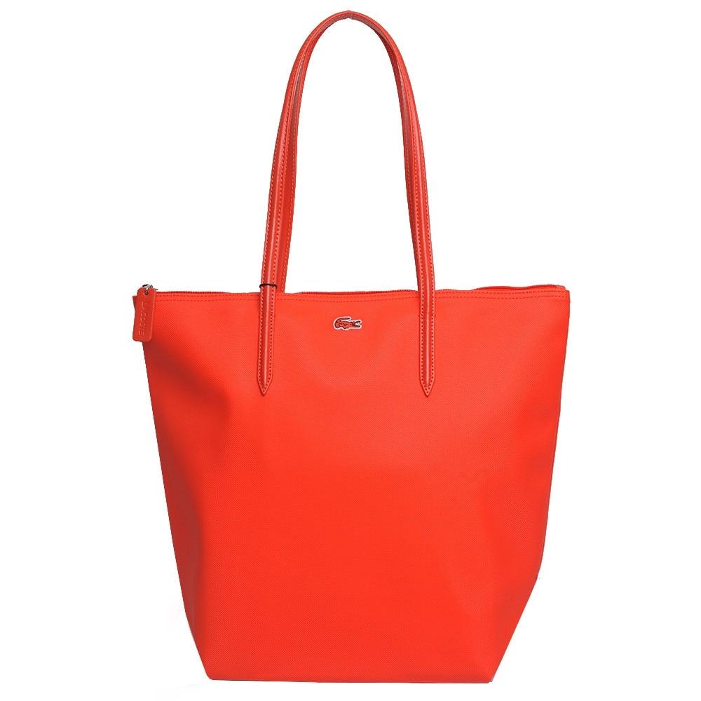LACOSTE 經典鱷魚LOGO圖騰刺繡肩背托特購物包(紅色)