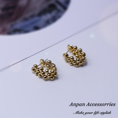 【Anpan 愛扮】韓東大門網紅款U型豆豆925銀針耳釘式耳環-金
