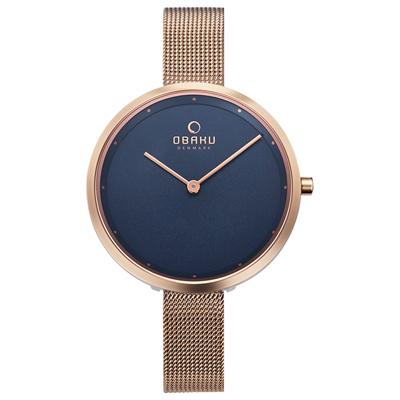 OBAKU 首席極簡主義曲線腕錶-玫瑰金X藍色(V227LXVLMV)/34mm