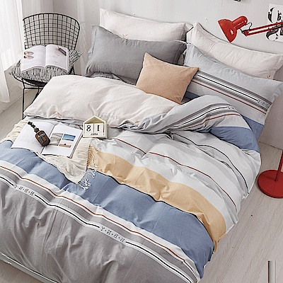 La Lune 台灣製100%40支精梳純棉雙人床包枕套三件組 雨露