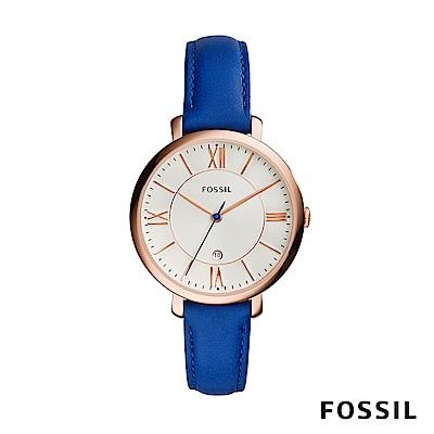 FOSSIL JACQUELINE 浪漫羅馬三針時尚腕錶-經典藍