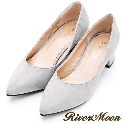 River&Moon大尺碼-素面麂皮絨質感OL上班鞋中跟鞋-灰