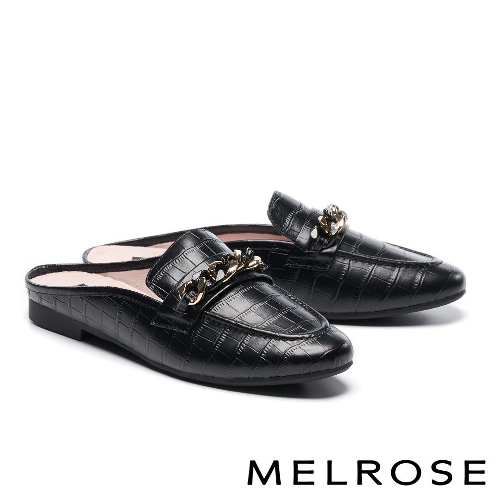 穆勒鞋 MELROSE 時尚質感雙色鍊條穆勒低跟拖鞋-黑