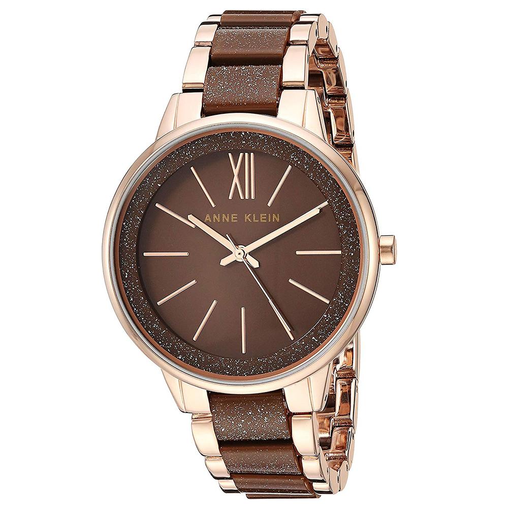 Anne Klein 濃情巧克力流金玻麗腕錶-可可色x37mm AK-1412RGBN
