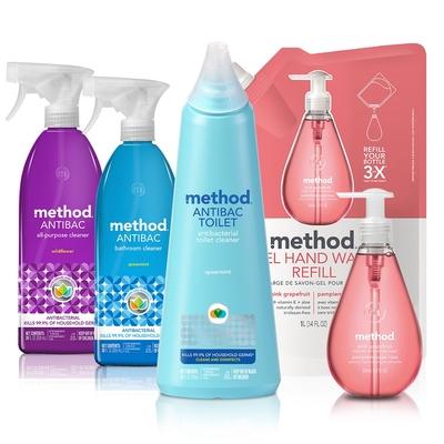 Method美則 防疫hold的住 5件組(粉紅洗手乳、全方位抗菌、馬桶殺菌)
