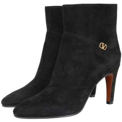 VALENTINO V LOGO 黃銅金屬麂皮尖頭短靴(黑色)