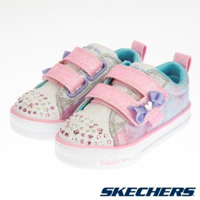 SKECHERS 女嬰系列 SHUFFLE LITES 燈鞋 - 20320NLPMT