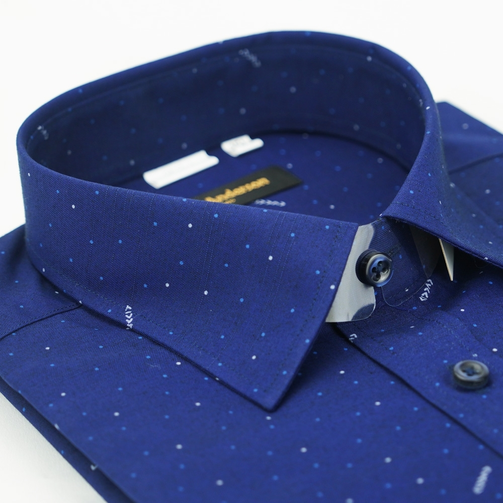 【金‧安德森】深藍點點窄版長袖襯衫fast