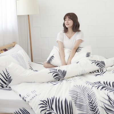 BUHO 雙人三件式床包枕套組(葉羽墨玉)