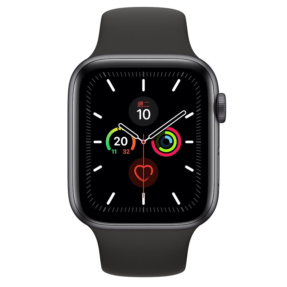 Apple Watch Series 5(GPS) 44mm太空灰鋁金屬錶殼+黑色運動錶帶