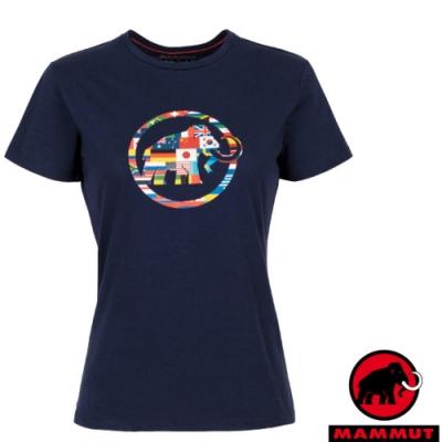 長毛象 女新款 世界T Nations 吸濕快乾彈性圓領短袖T恤_藏青
