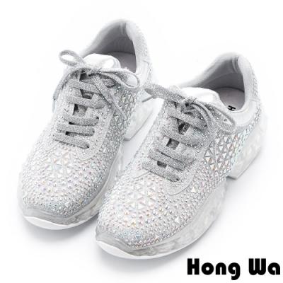 Hong Wa -穿了發大財-復古拼接布彩鑽綁帶老爹鞋 - 銀