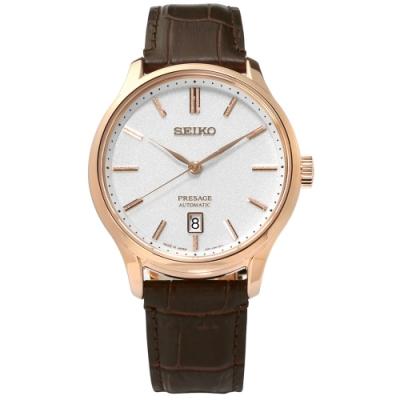 SEIKO 精工 PRESAGE 自動上鍊 壓紋牛皮機械錶-銀x玫瑰金框x褐/42mm