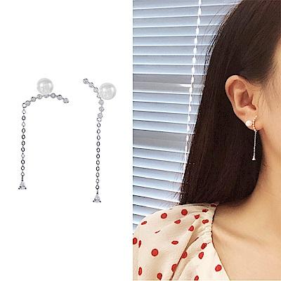 梨花HaNA 韓國925銀金秘書為何那樣微笑珍珠耳環銀色