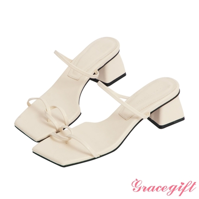 Grace gift-雙細帶套趾中跟涼拖鞋  米白