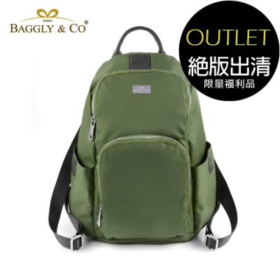 [福利品]【BAGGLY&CO】防盜真皮尼龍後背包秋冬色系款(綠色)(絕版出清)