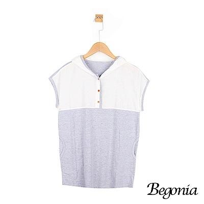 Begonia 木釦半袖配色包邊連帽上衣(共兩色)